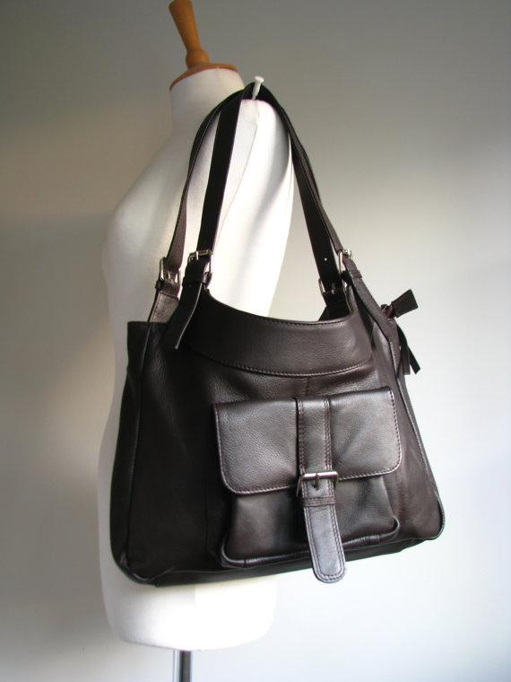 Brown Leather Pocket Shoulder Bag