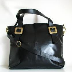 Leather Handbag Buckle Tote, Black