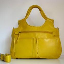 Leather Handbag Satchel Tote Yellow