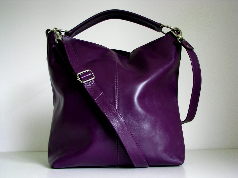 Leather Handbag Purple - Messenger Bag Tote on Luulla